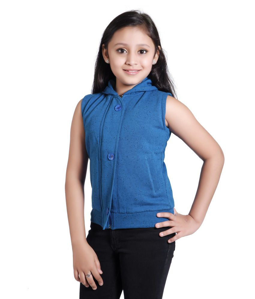 Just Clothes Blue Cotton Hooded Quilted And Bomber Jacket For Girls