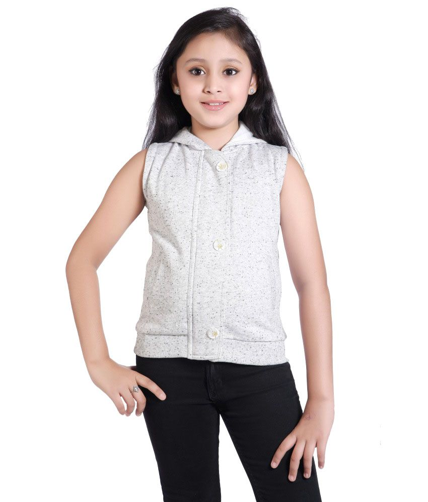 Just Clothes White Cotton Hooded Quilted And Bomber Jacket For Girls