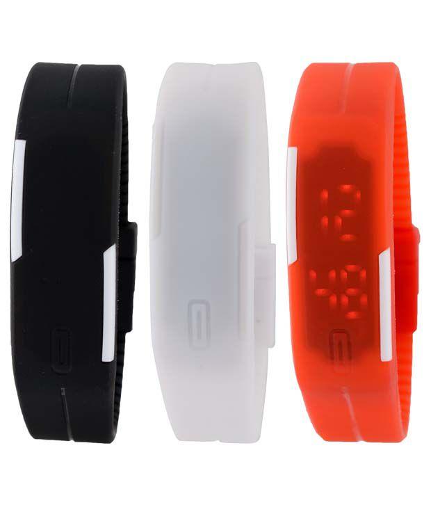 Pappi Boss Set of 3 Black,White & Red Unisex Silicone Led Bracelet Band Watch for Men & Women - Combo Offer