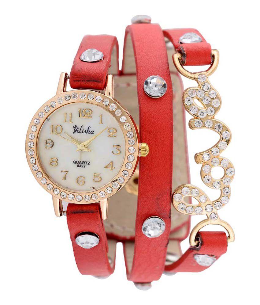Pappi Boss Vintage Designer Fancy Red Colour Leather Love Bracelet ...