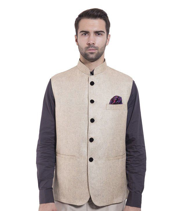 Wintage Beige Rayon Waistcoats
