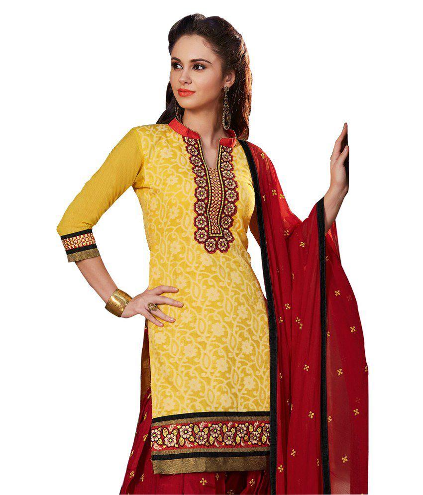 Yati Yellow Crepe Jacquard Unstitched Dress Material