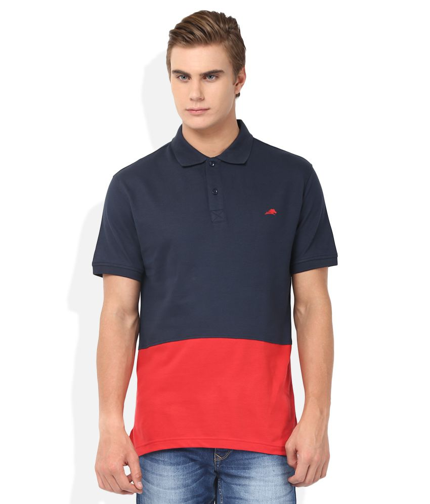 2go Navy Blue Solid Polo T Shirt