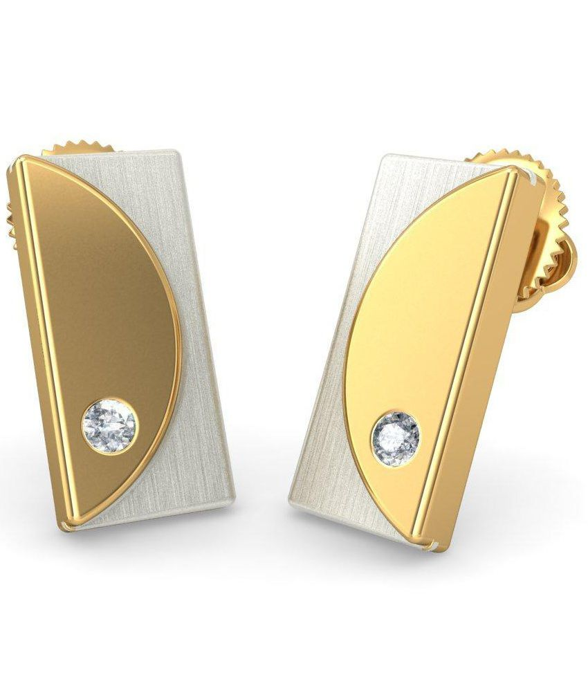 BlueStone 14 Kt Yellow Gold & Diamond Ayreon Stud Earrings