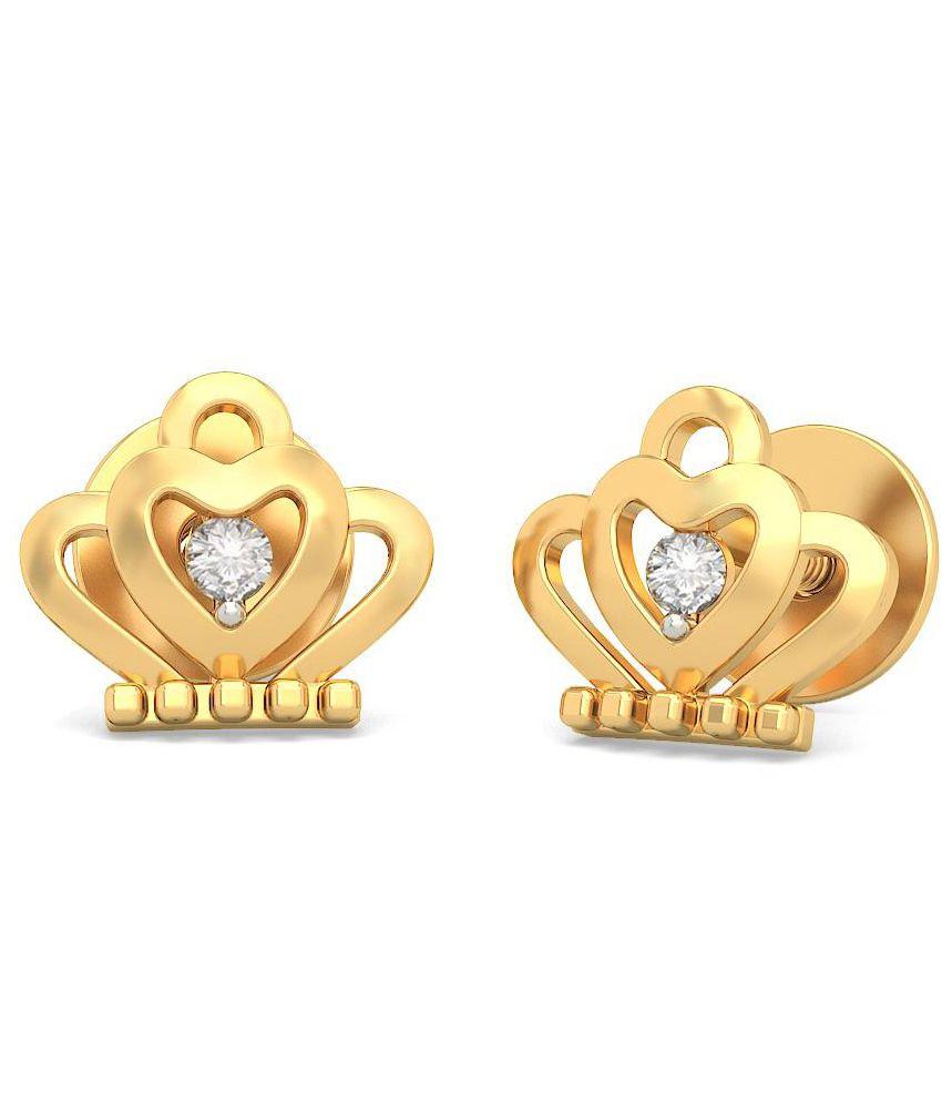BlueStone 14 Kt Yellow Gold & Diamond Crown Jewel Stud Earrings For Kids