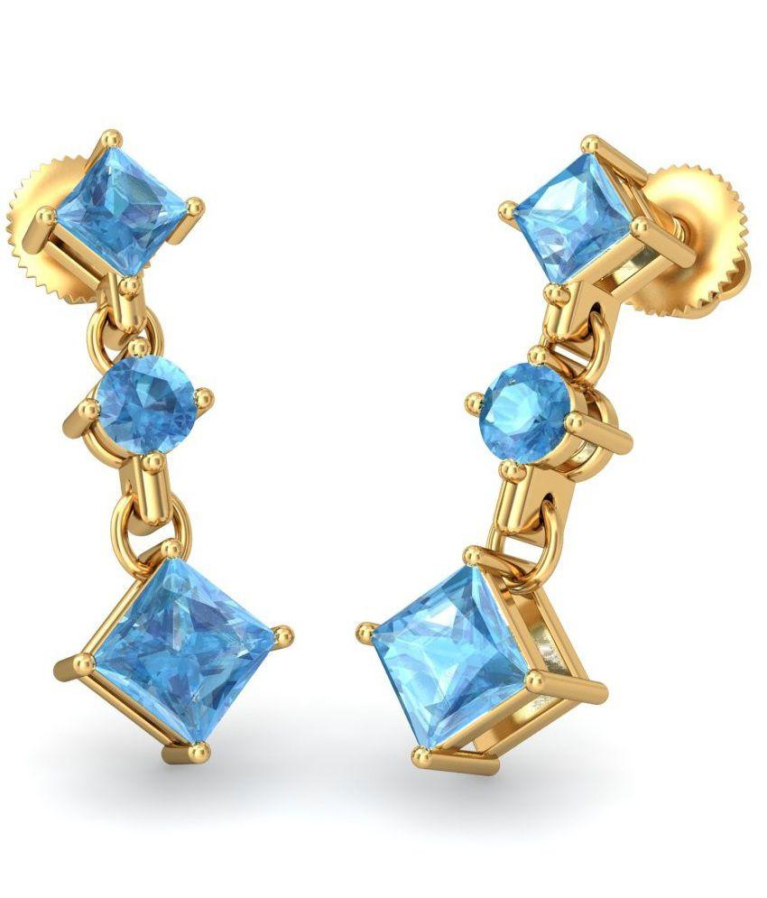 BlueStone 18 Kt Yellow Gold & Topaz Charis Drop Earrings