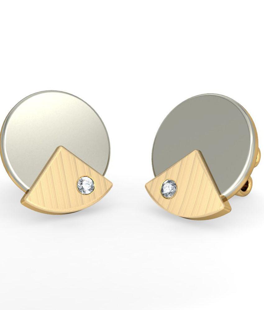BlueStone 18 Kt Yellow Gold & Diamond Diana Stud Earrings