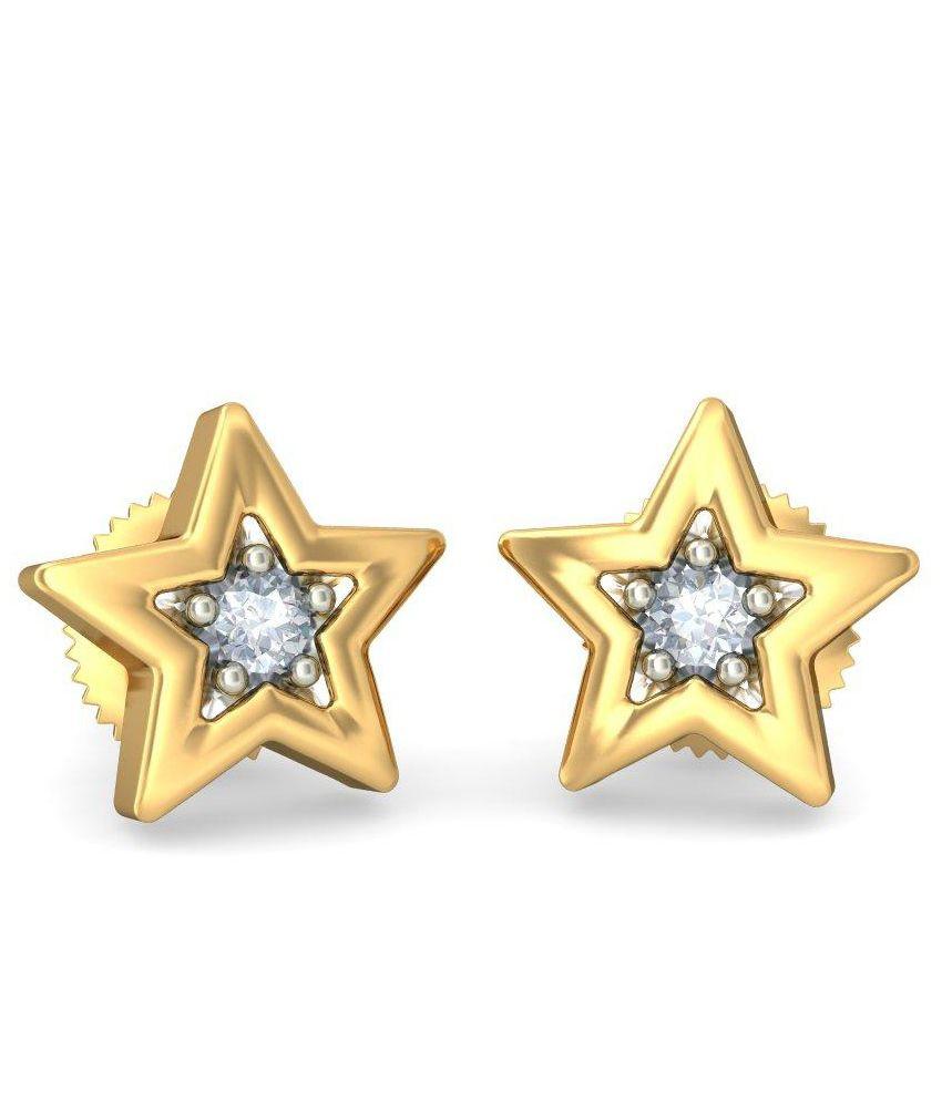 BlueStone 18 Kt Yellow Gold & Diamond Wishing Star Stud Earrings For Kids
