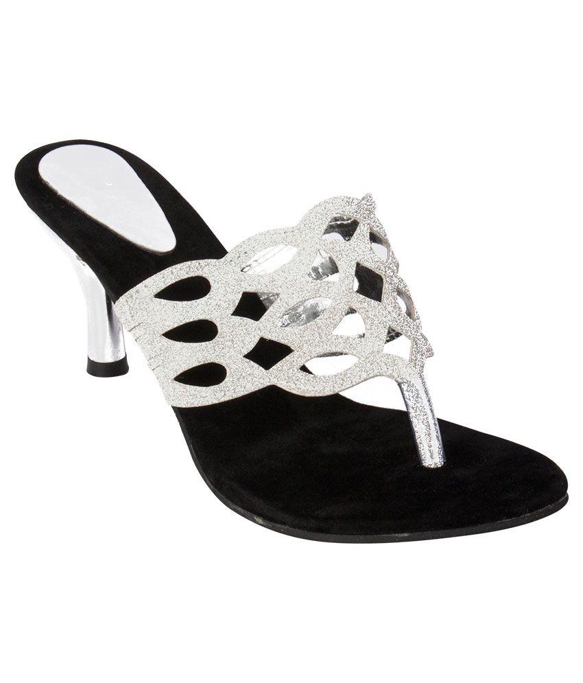 iAnna Silver Black Heels
