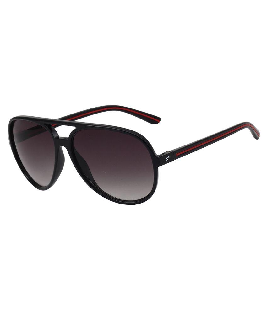 Fave Black Non Metal Frame Grey Plastic Lens Aviator Sunglasses