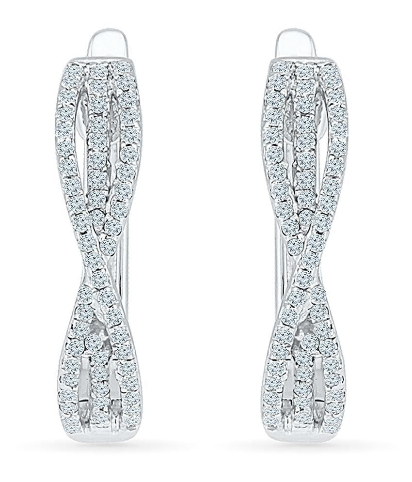 Radiant Bay 14kt Gold Round Diamond Huggie Earrings
