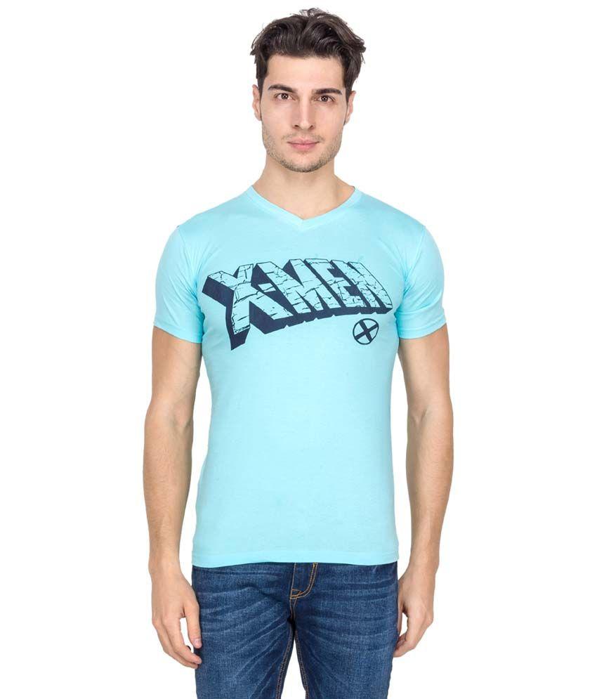Super Heroes Blue Cotton Blend T-shirt