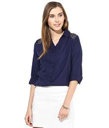 Mayra Navy Rayon Shirts