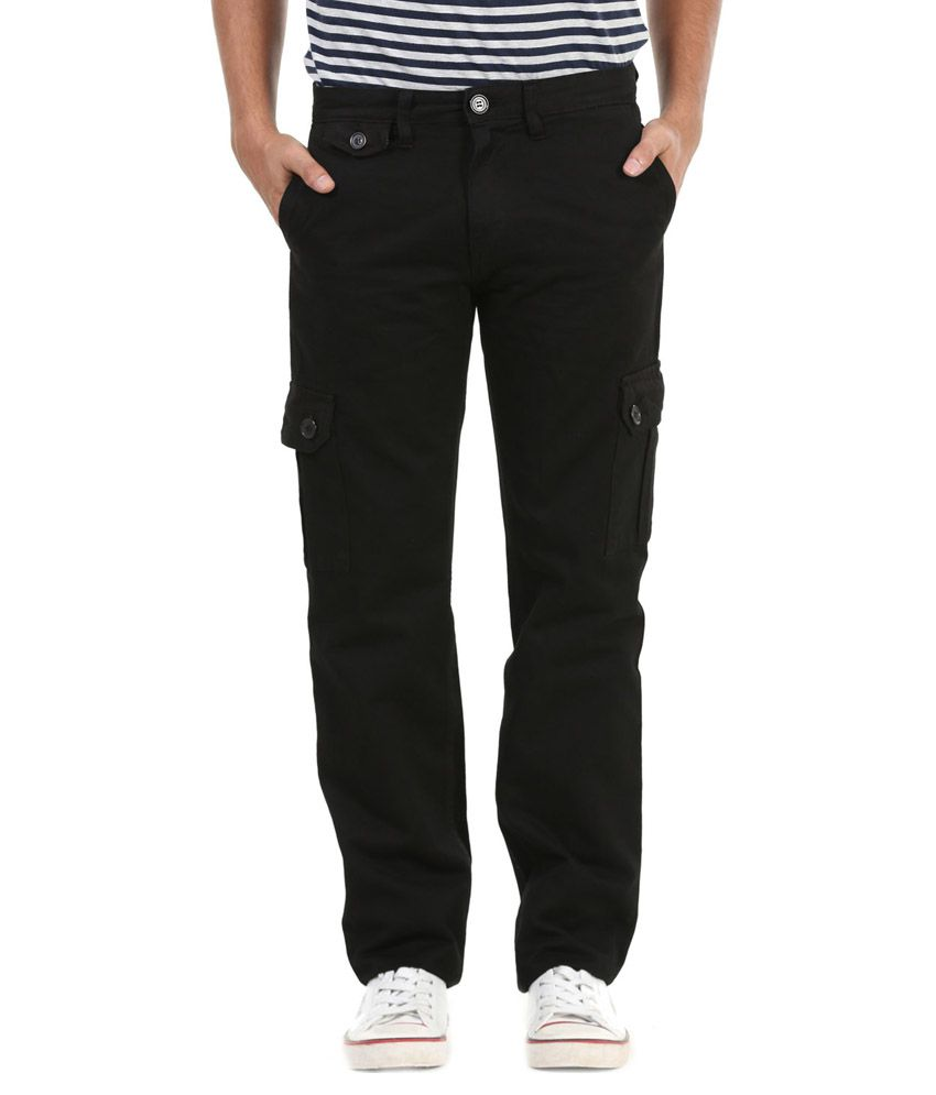 MRDNK Black Regular Fit Casual Cargo