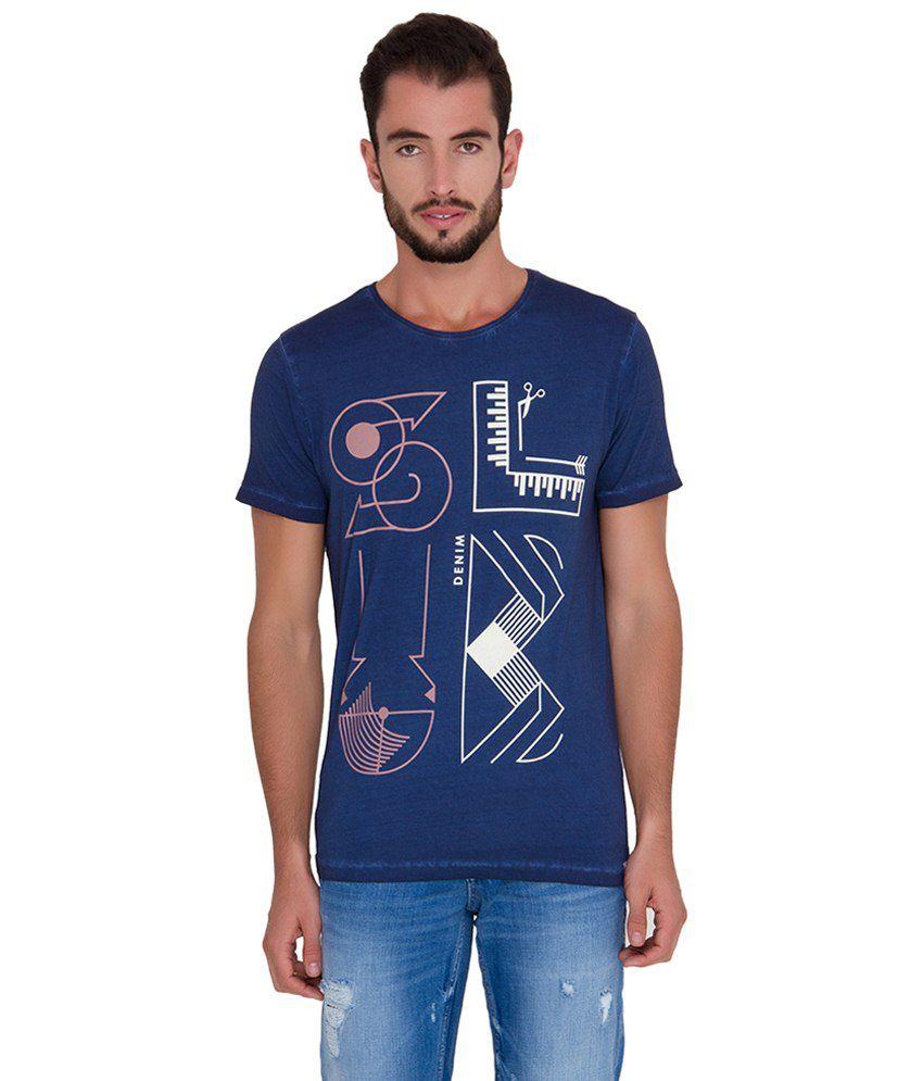 Slub Navy Blue & White Printed Cotton T Shirt