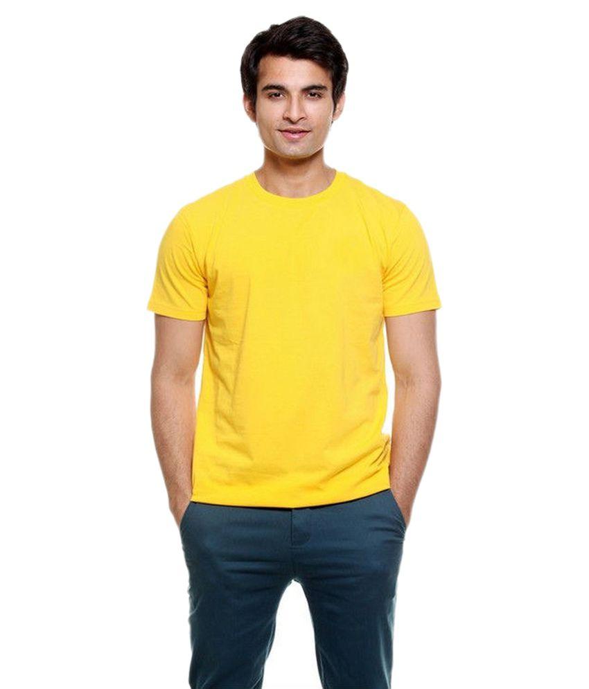 Alangar Yellow Cotton T-shirt