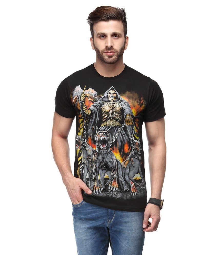 Ausy Black Cotton Blend Half Sleeves T Shirt