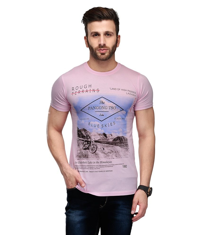 Ausy Pink Cotton Blend Half Sleeves T Shirt