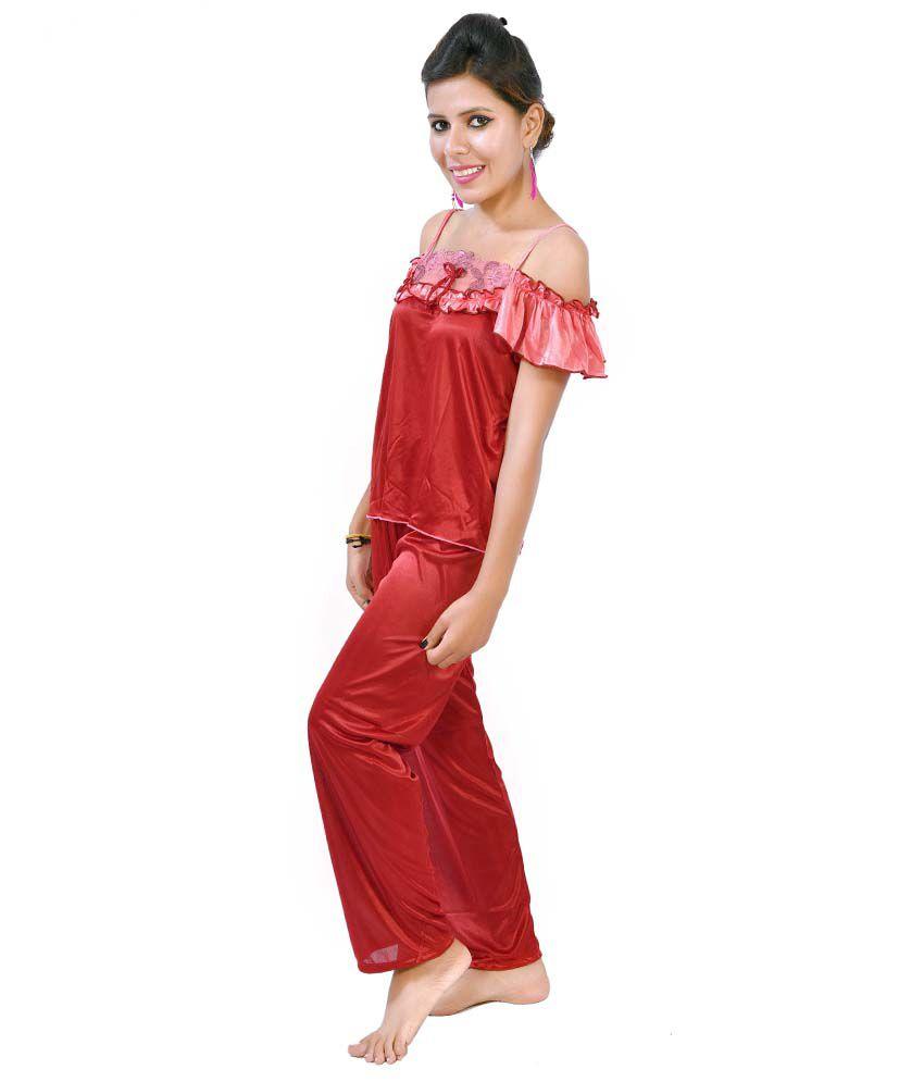 1e3009c096117 ... Set Fashion Zilla Maroon   Dark Pink Satin Shoulderless Night Suit ...