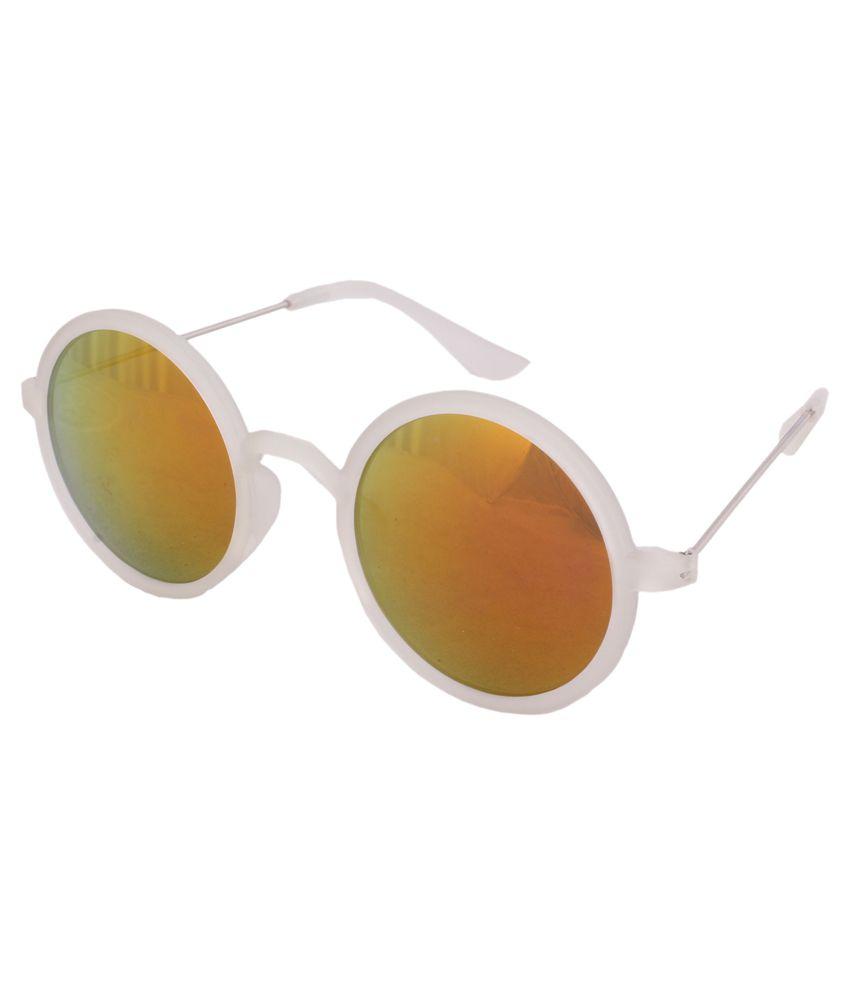 Sushito White Polycarbonate Round Sunglasses