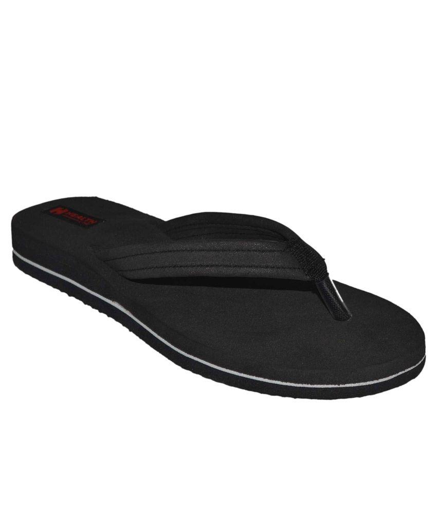 Health Line Black Flip Flops