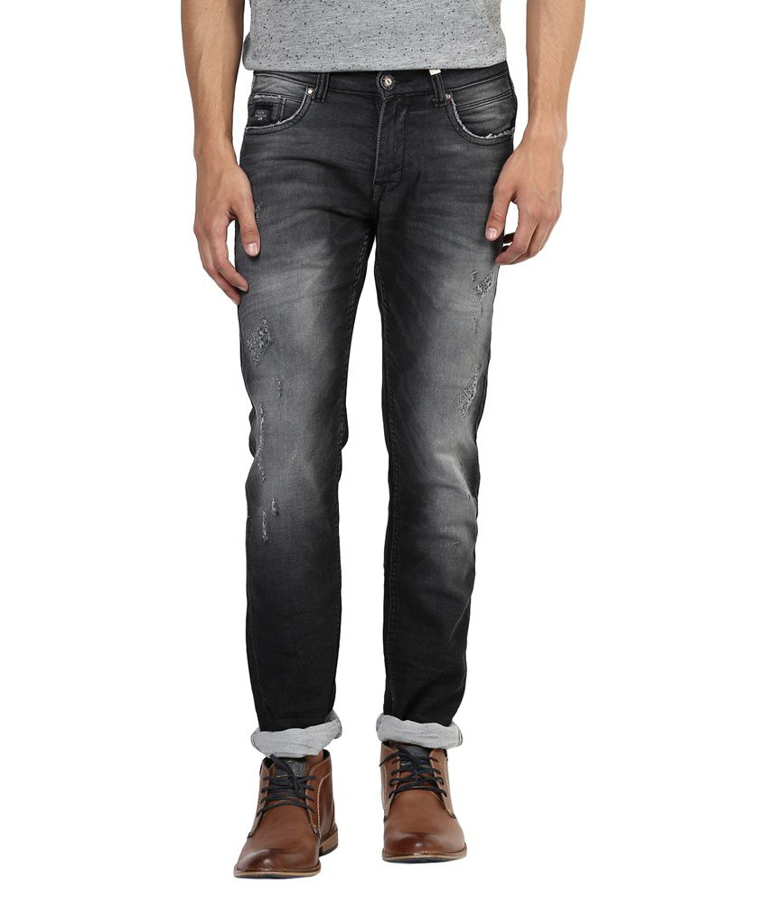 Urban Navy Black Cotton Slim Fit Jeans