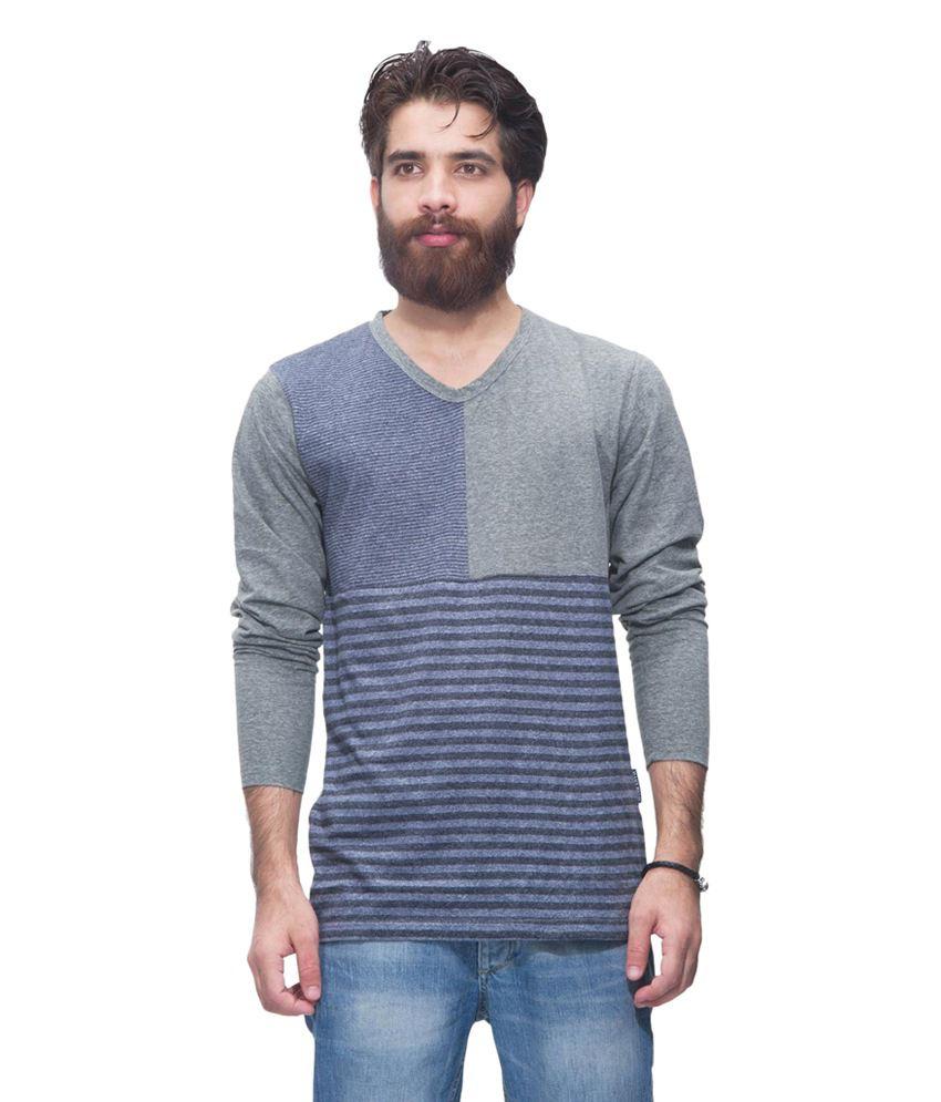Avoir Envie Blue & Gray Cotton Blend V-Neck T-shirt