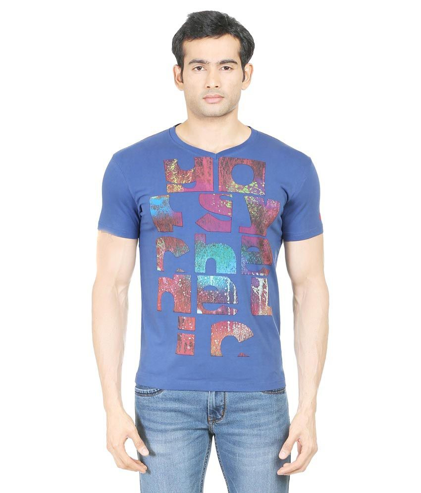 Blumerq Blue 100 Percent Cotton T-Shirt