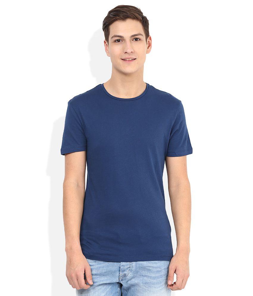 Celio Blue Round Neck Basics T-Shirt