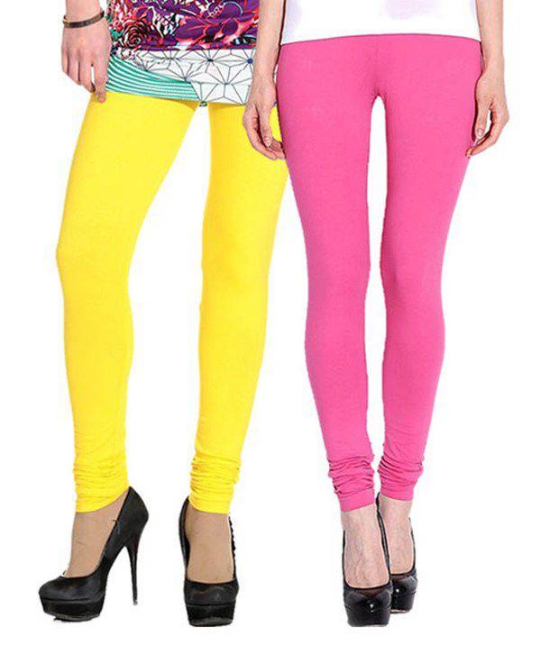 Stylobby Multicolour Cotton Blend Leggings - Pack Of 2