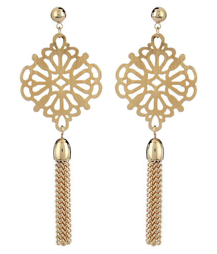 Thingalicious Tassel Oriental Gold Plated Earrings