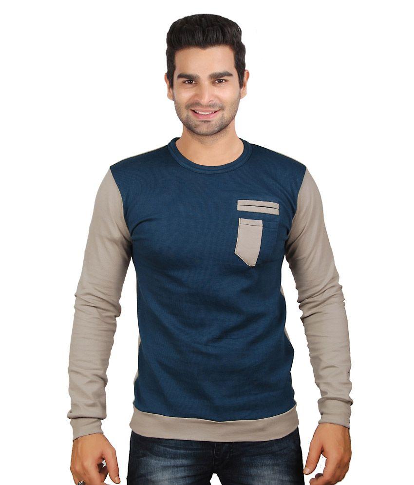 Zedx Blue Cotton Blend T-Shirt