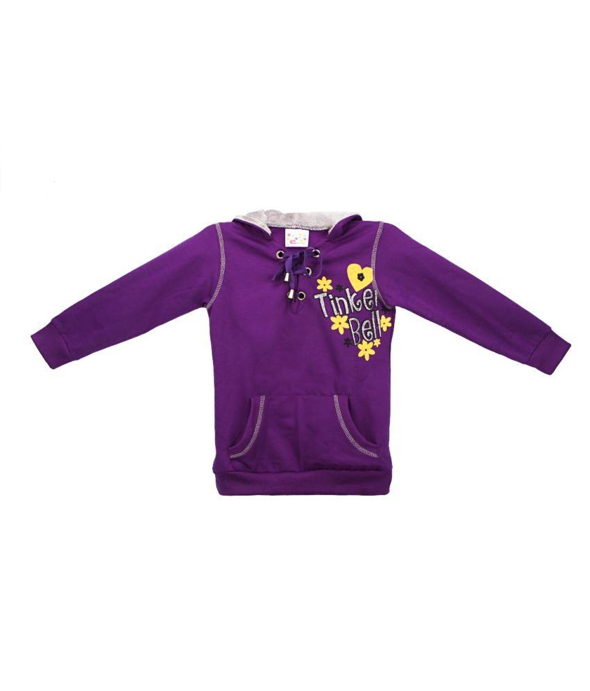 Eimoie Purple Full Sleeves Fleece Jacket With Hood