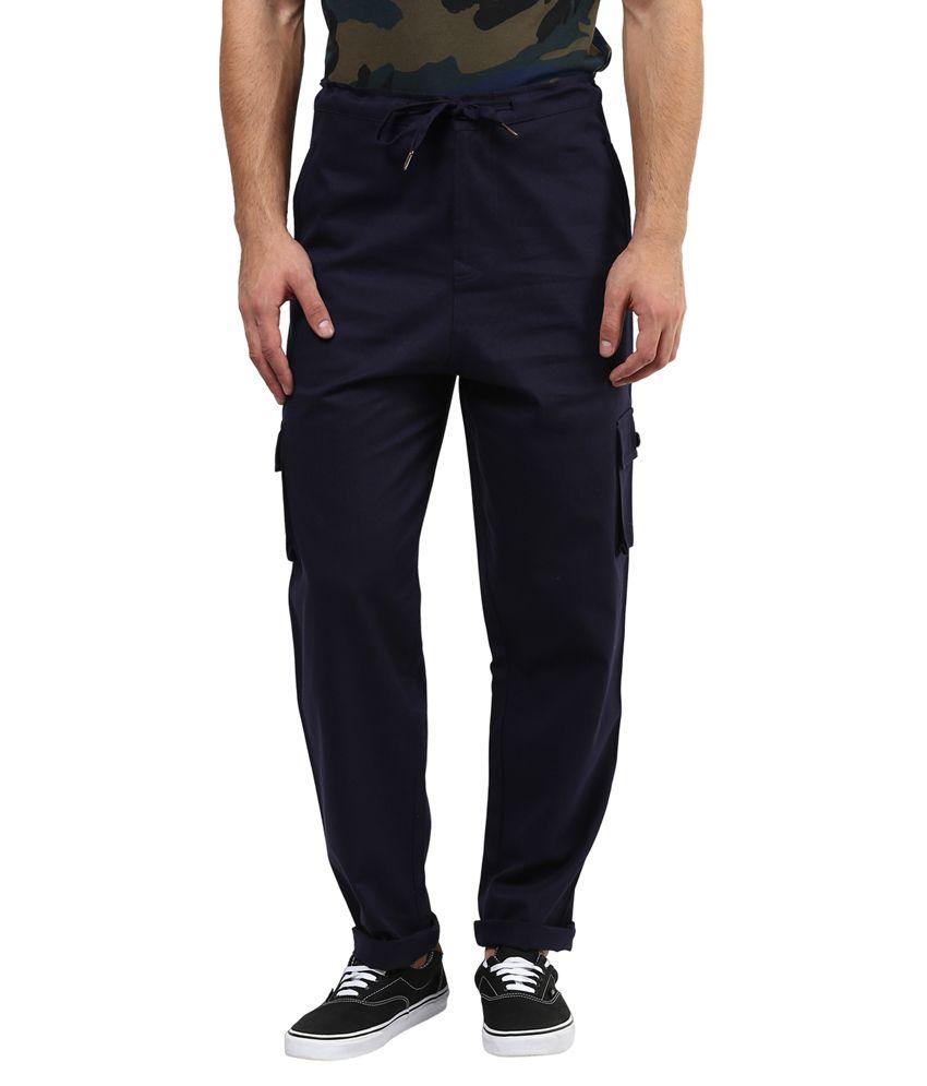 Hypernation Blue Regular Fit Casual Cargo Pant