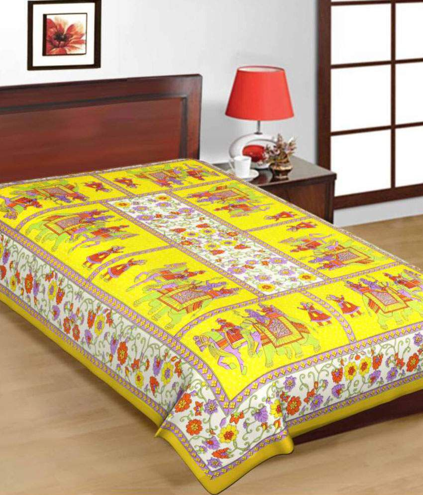 Kismat Collection Multicolour Traditional Cotton Single Bedsheet