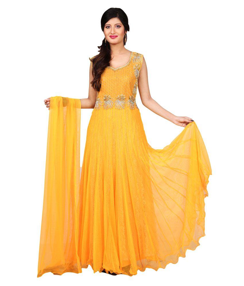 Sharmili Yellow Net Stitched Suit