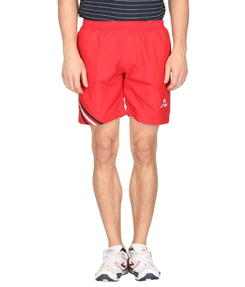Attro Red Polyester Short