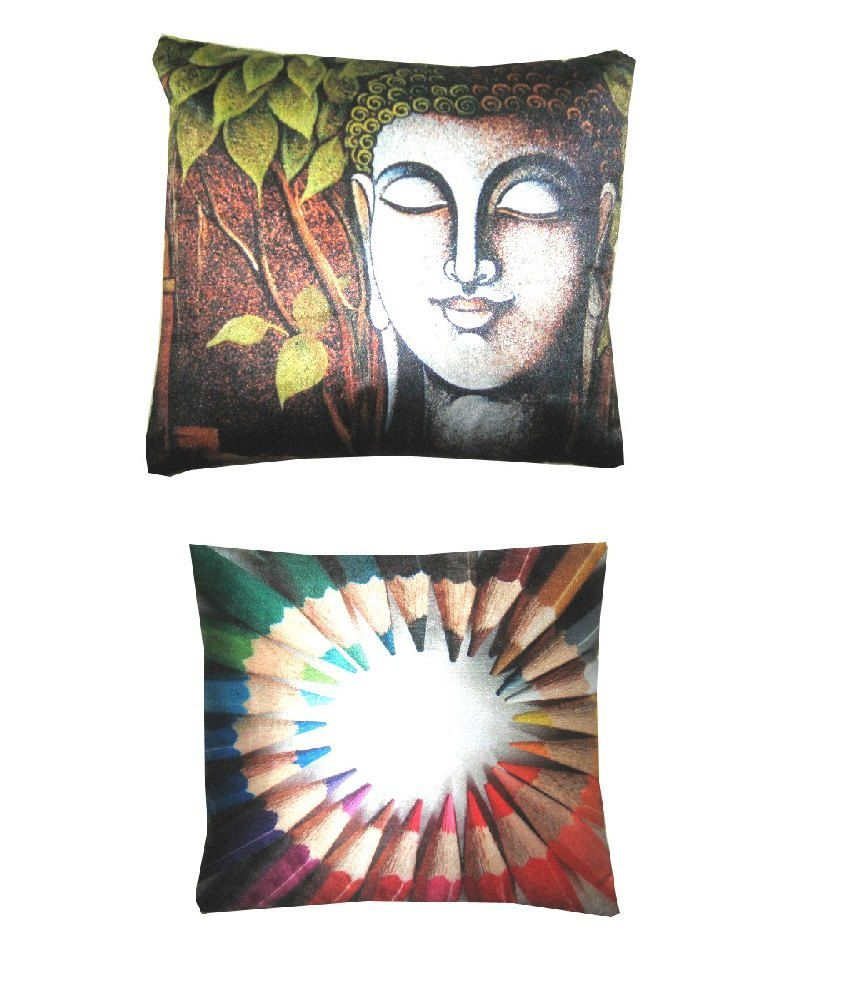 Etoile Combo of Brown and White Blended Printed Cushion Covers (Pack of 2)