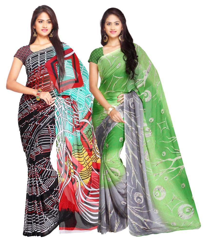 Ligalz Multicolor and Green Semi Chiffon Saree - Pack of 2