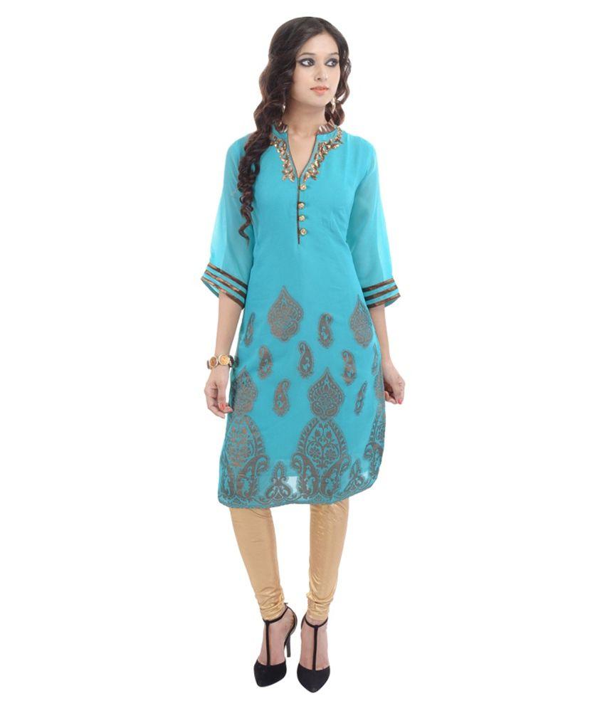 Shopping Karega Blue Pure Georgette Kurti