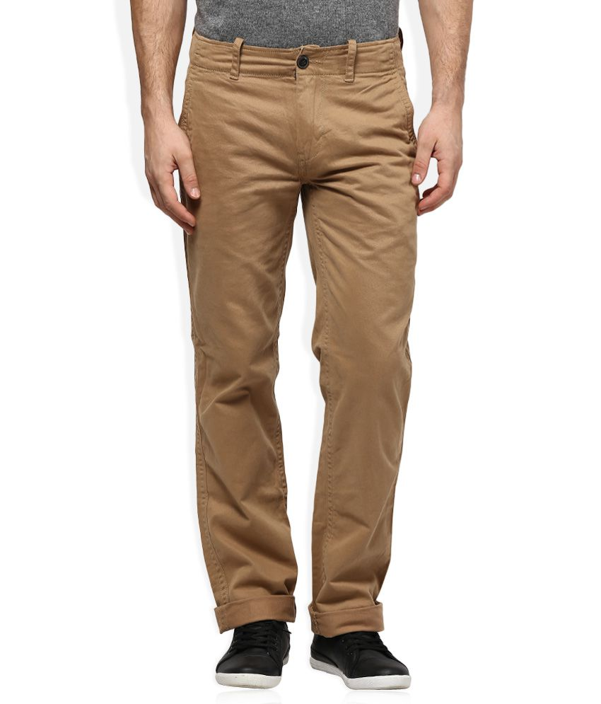 Woodland Khaki Regular Fit Flat Trousers