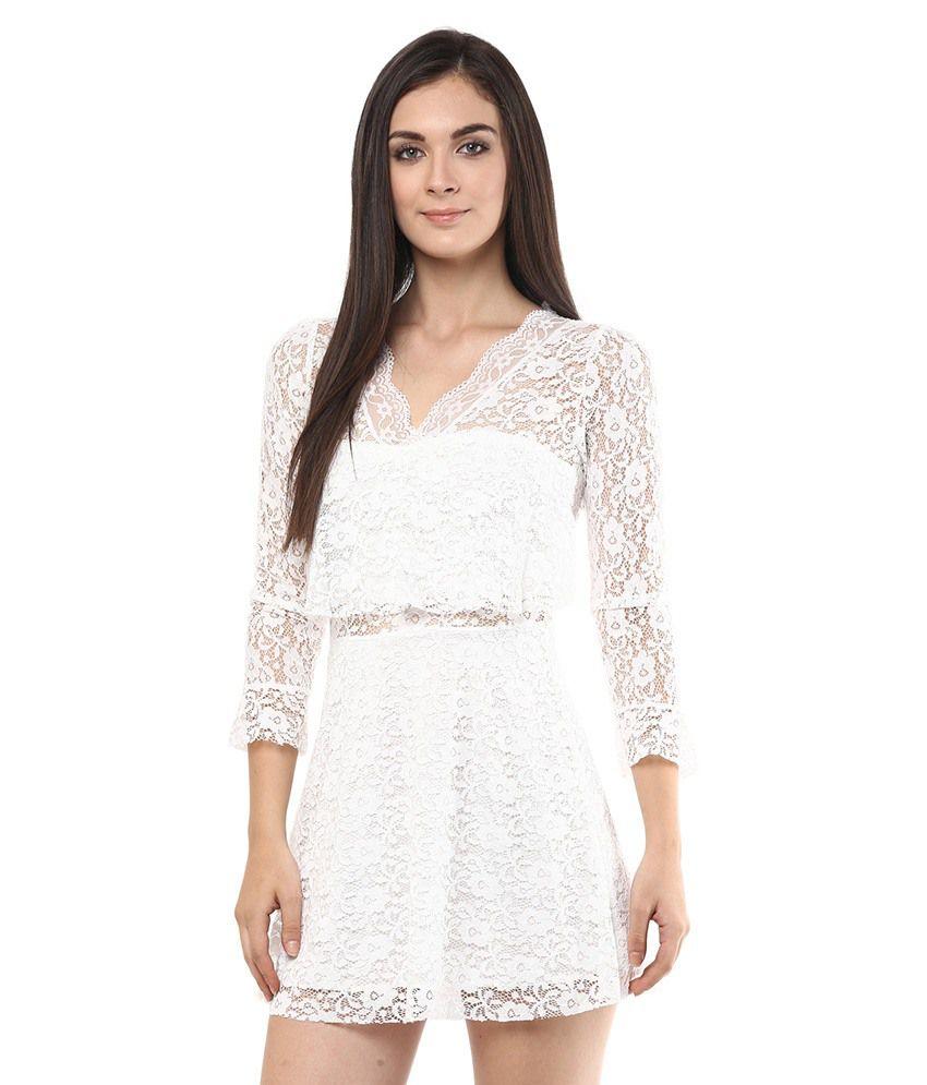 Remanika White V Neck Dresses