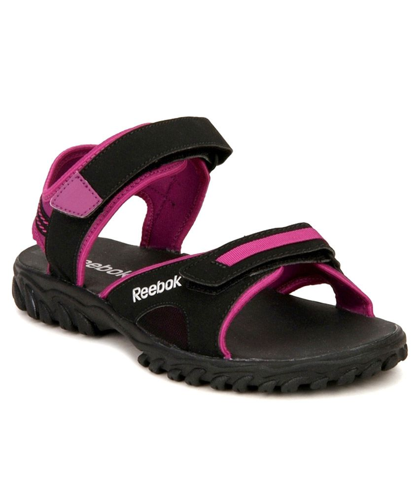 2e5df00c988dd2 Reebok Black And Pink Floater Sandals Price in India- Buy Reebok Black And  Pink Floater Sandals Online at Snapdeal