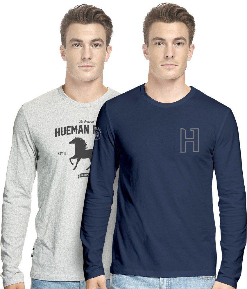 Hueman Navy Blue And Grey Cotton Blend T-Shirt - Set Of 2