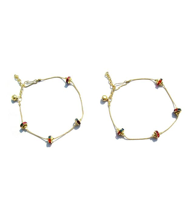 Uma Multicolour Alloy Pair of Anklets
