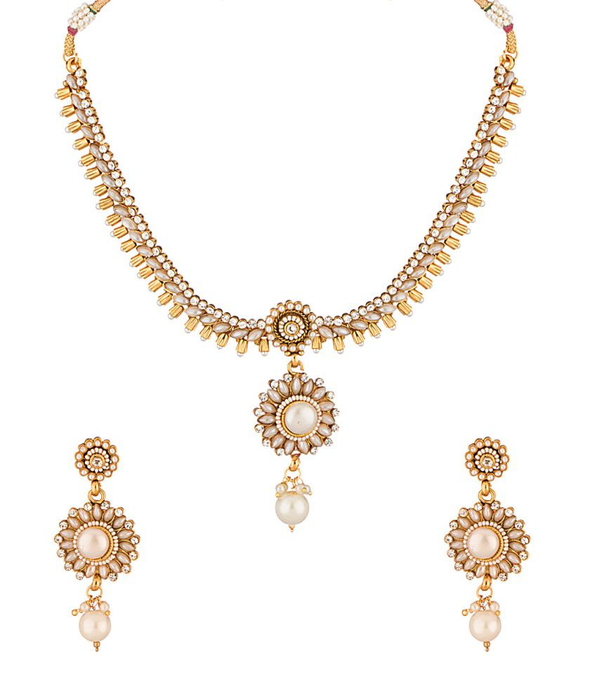 Voylla Golden Brass Cz Necklace Set