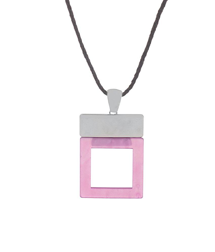 Voylla Silver Alloy Crystal Necklace
