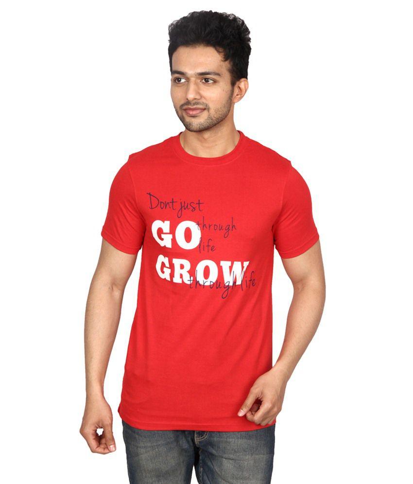 Waykk Red Cotton T Shirt