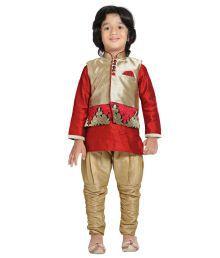 Jeet Red Silk Kurta Pajama For Boys