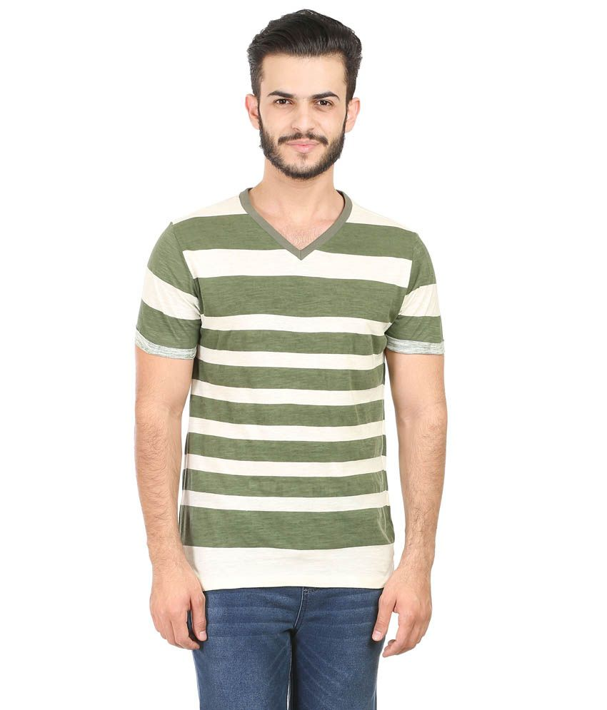 Habitude Green Half Sleeves T-Shirt